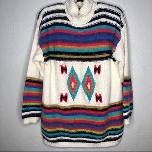 Kitty Hawk Southwest Print Chunky Sweater